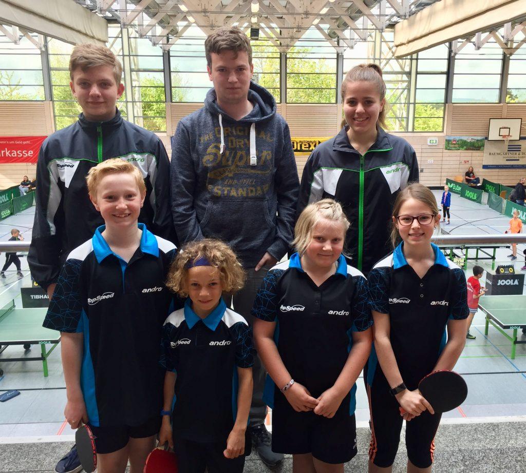 Estinger Truppe (von links, oben nach rechts, unten: Max Bencúr, Seppi Groß, Nicole Steinbrecher, Emil, Leo, Paula, Katharina)